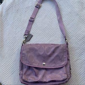 Coach signature purple crossbody bag for women